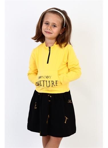 Toontoy Kids Toontoy Kız Çocuk Couture Baskılı Elbise Sarı